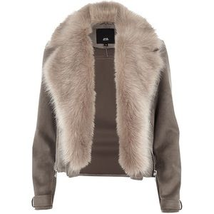 River Island Fur Trim Suede Coat